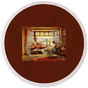 Round Beach Towel featuring the painting Reading By The Window by Charles James Lewis