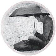 Reading In The Rain - Umbrella Round Beach Towel by Nikolyn McDonald