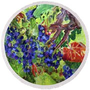 Round Beach Towel featuring the painting Ready To Harvest by Donna Walsh