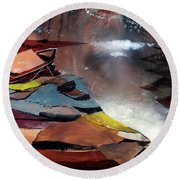 Round Beach Towel featuring the painting Ready To Leave by Anil Nene