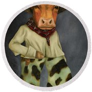 Real Cowboy 2 Round Beach Towel