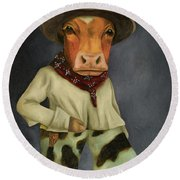 Round Beach Towel featuring the painting Real Cowboy 2 by Leah Saulnier The Painting Maniac