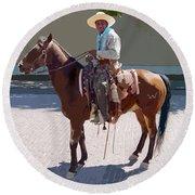 Real Cowboy Round Beach Towel