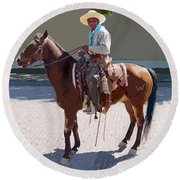Round Beach Towel featuring the digital art Real Cowboy by John Dyess