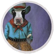 Real Cowboy Round Beach Towel by Leah Saulnier The Painting Maniac