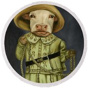 Real Cowgirl 2 Round Beach Towel by Leah Saulnier The Painting Maniac
