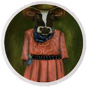 Real Cowgirl Round Beach Towel by Leah Saulnier The Painting Maniac