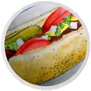Real Deal Chicago Dog Round Beach Towel