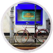 Round Beach Towel featuring the photograph Real Hamburgers Bicycle by Craig J Satterlee