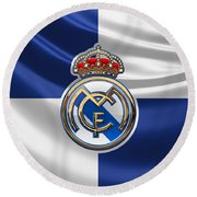 Real Madrid C F - 3 D Badge Over Flag Round Beach Towel by Serge Averbukh