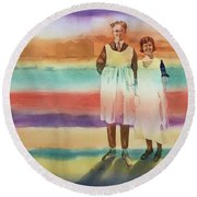 Real Men Wear Aprons Round Beach Towel