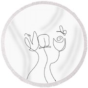 Really Loose Drawing  Round Beach Towel