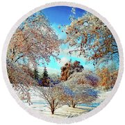 Round Beach Towel featuring the photograph Realm Of The Ice Queen by Rodney Campbell