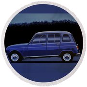 Renault 4 1961 Painting Round Beach Towel