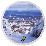 Round Beach Towel featuring the photograph Rear View Of A Person Skiing, Stratton by Panoramic Images