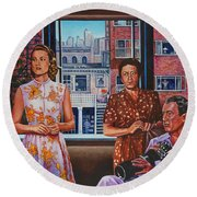 Round Beach Towel featuring the painting Rear Window by Michael Frank