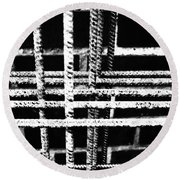 Rebar And Brick - Industrial Abstract Round Beach Towel