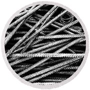Rebar And Spring - Industrial Abstract  Round Beach Towel