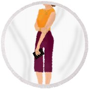 Round Beach Towel featuring the  Rebecca by Nancy Levan