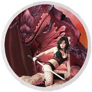Rebel Dragon Round Beach Towel
