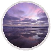 Round Beach Towel featuring the photograph Cardiff By The Sea Reflections by John F Tsumas