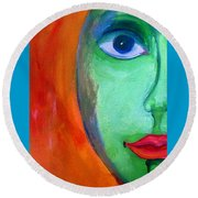 Round Beach Towel featuring the painting Reciprocal Self Moon Face by Lisa Kaiser