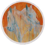 Round Beach Towel featuring the painting Reciprocity by Jani Freimann