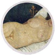 Reclining Female Nude Round Beach Towel