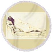 Reclining Nude Round Beach Towel by Edgar Torres
