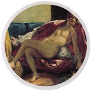 Reclining Odalisque Round Beach Towel by Ferdinand Victor Eugene Delacroix