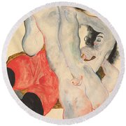 Reclining Woman In Red Trousers And Standing Female Nude Round Beach Towel