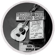 Record Shop- By Linda Woods Round Beach Towel