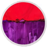 Red Above Purple Round Beach Towel