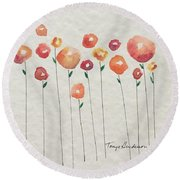 Red Abstract Floral Round Beach Towel