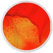 Red Abstract Paint Drips Square II Round Beach Towel by Tony Grider