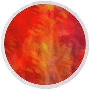 Red Abstract Round Beach Towel