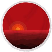 Red Abstract Sunset II Round Beach Towel