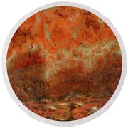 Red Agate Plumes Round Beach Towel