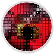 Round Beach Towel featuring the digital art Red Alert by Shawna Rowe