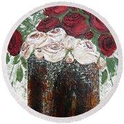 Red And Antique White Roses - Original Artwork Round Beach Towel