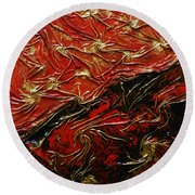 Red And Black Round Beach Towel