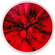Round Beach Towel featuring the photograph Red And Black Explosion by Susan Capuano