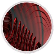 Red And Black Modern Fractal Design Round Beach Towel