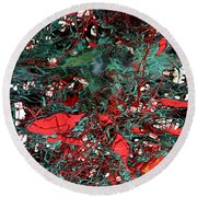 Round Beach Towel featuring the painting Red And Black Turquoise Drip Abstract by Genevieve Esson