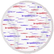 Red And Blue Fish Pattern Round Beach Towel