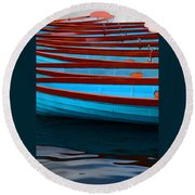 Red And Blue Paddle Boats Round Beach Towel
