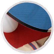 Red And Blue Ping Pong Paddles - Closeup Round Beach Towel