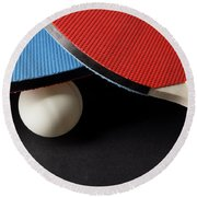 Red And Blue Ping Pong Paddles - Closeup On Black Round Beach Towel