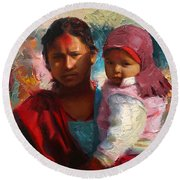 Red And Blue Portrait Of Nepalese Mother And Child Round Beach Towel