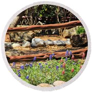 Red And Bluebonnets Round Beach Towel